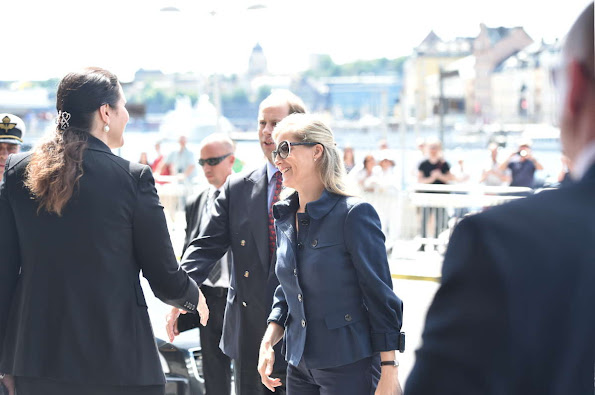 Sophie, Countess of Wessex arrive at the Grand Hotel prior to the wedding of Prince Carl Philip of Sweden and Sofia Hellqvis