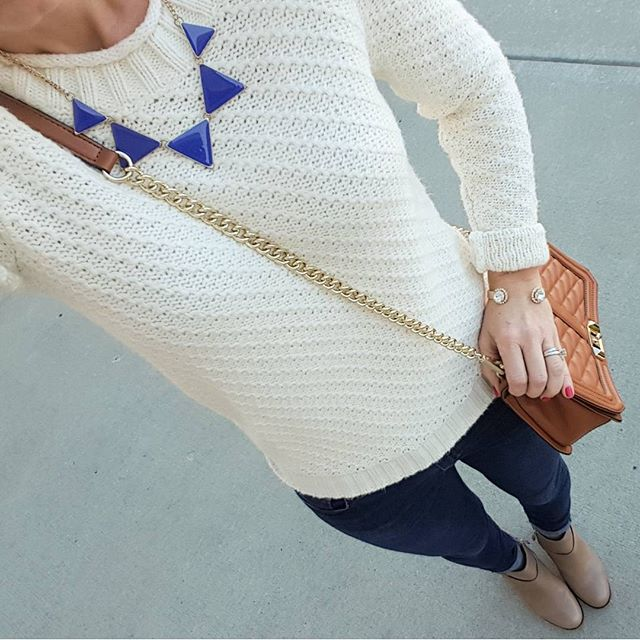 Old Navy Sweater (similar - on sale for only $18, regular $45!) // Joe's Jeans // Cole Haan Calixta Booties // Purple Peridot Cuff Bracelet - only $6, regular $25! // Rebecca Minkoff Handbag (more handbags on sale here) // Etsy Necklace (similar)