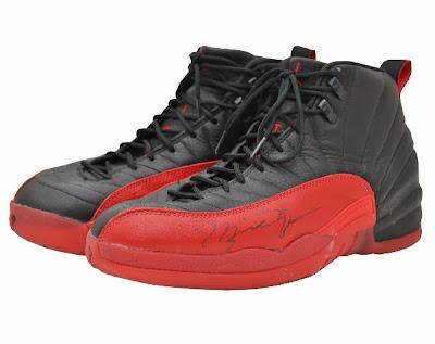 Michael Jordan autographed Flu Game sneakers