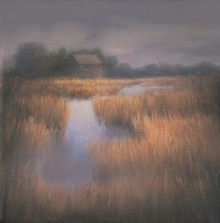 Marsh House, Katherine Kean, 2013, oil on linen, small, The Great Marsh, Cape Cod