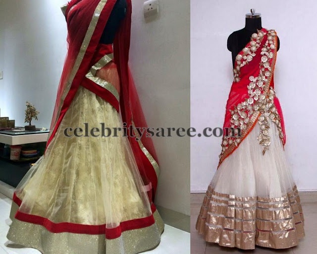 Rose Fancy Work White Half Sarees