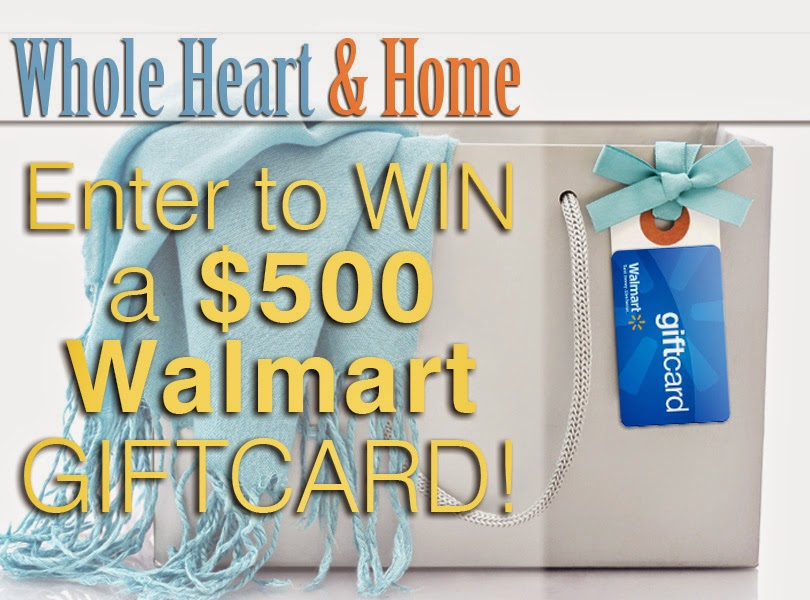 Enter the Whole Heart & Home $500 Walmart Gift Card Giveaway . Ends 2/28.