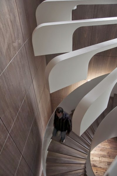 a unique spiral stairs - stair lights from PSLAB