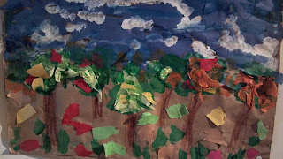 landscape made from construction paper