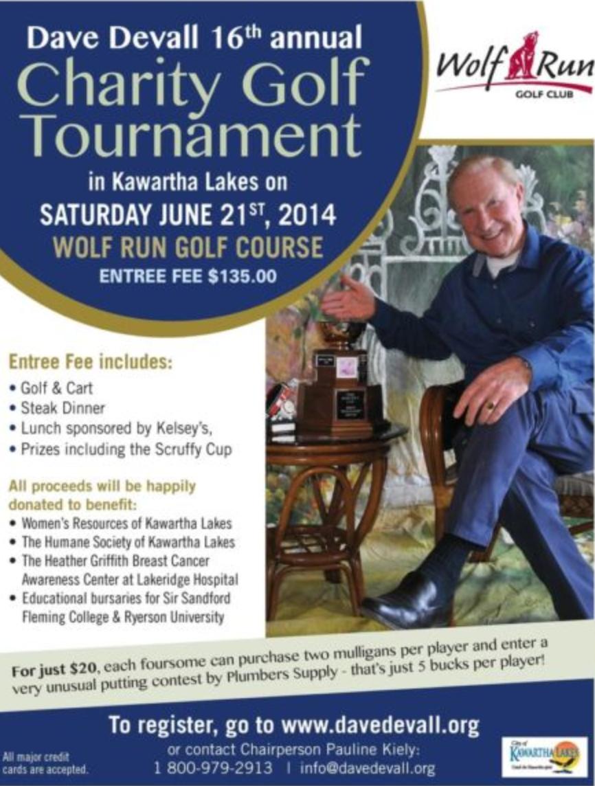 Dave Devall 16th Annual Charity Golf Tournament Poster