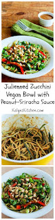 Recipe for Julienned Zucchini Vegan Bowl with Peanut-Sriracha Sauce [from KalynsKitchen.com]