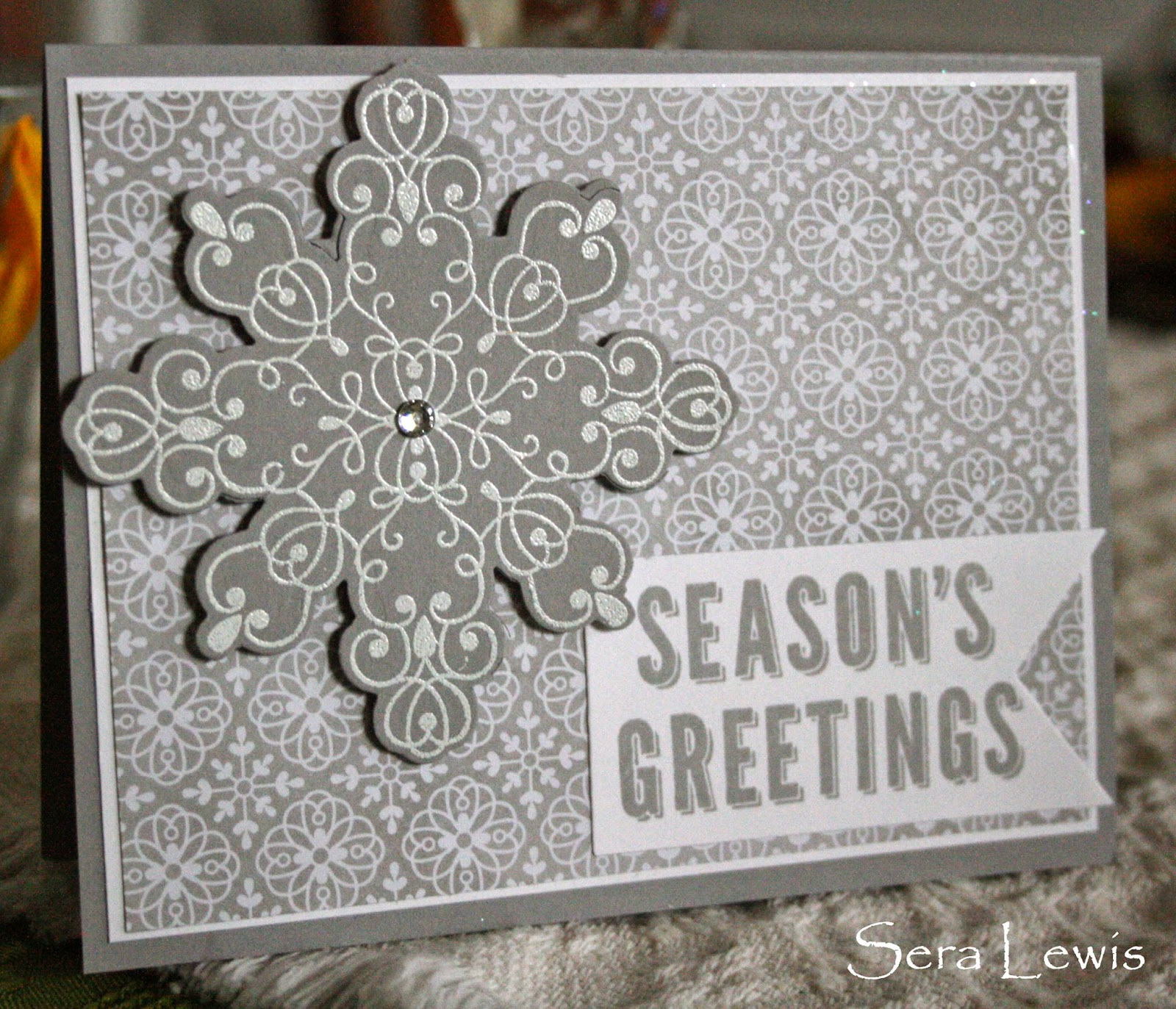 DSP and the Snowflake Card thinlet used in a Stampin' Up! holiday card