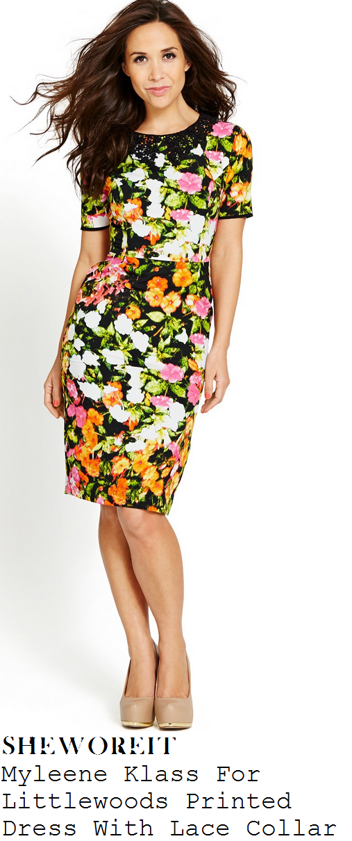 myleene-klass-multicoloured-floral-print-short-sleeve-tailored-pencil-dress-with-black-lace-collar-book-launch