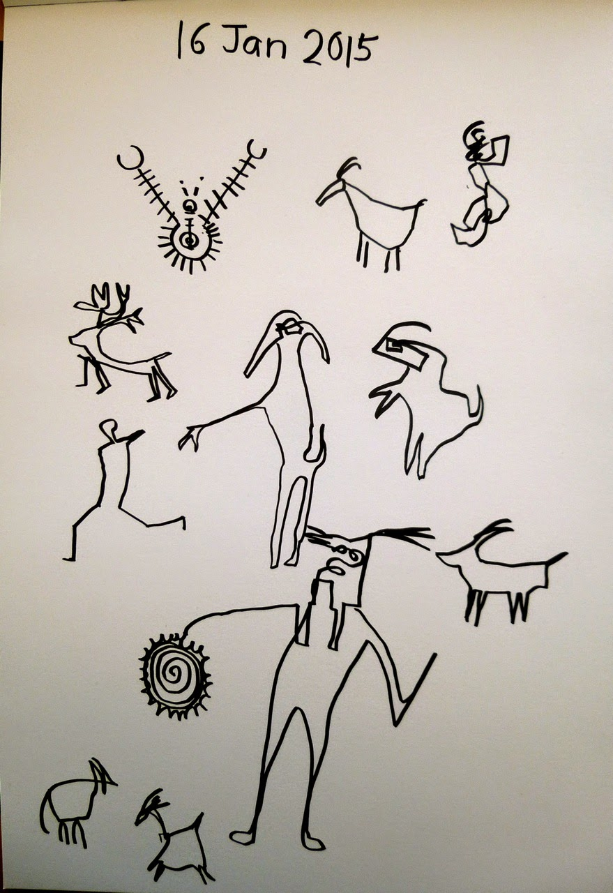 Rock art drawn in black pen on white paper with right hand