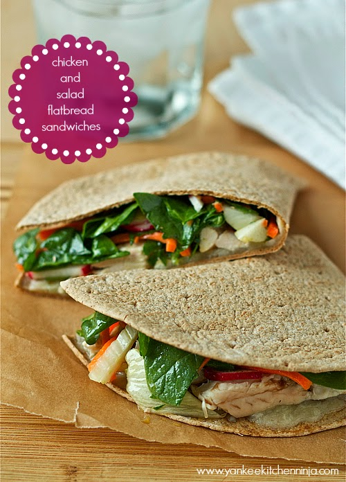 chicken and salad flatbread sandwiches, a fresh and healthy lunch or easy weeknight dinner