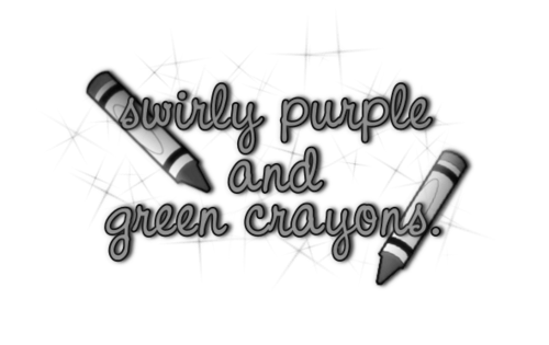 Swirly Purple and Green Crayons