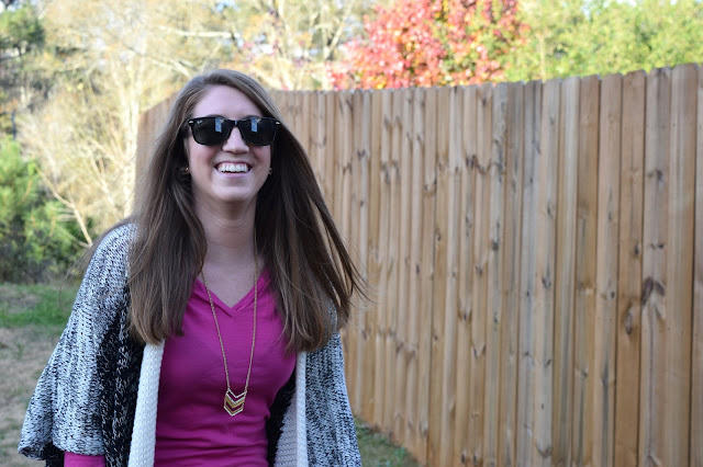 fall fashion, fringe cardigan, ray bans, chevron necklace