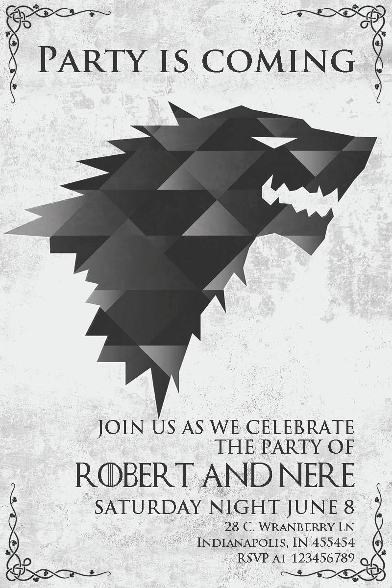 In 001 Stark Invitación Lobo Huargo Stark Juego De Tronos