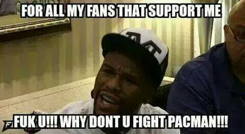 Floyd said to his fans to fight Manny instead of him