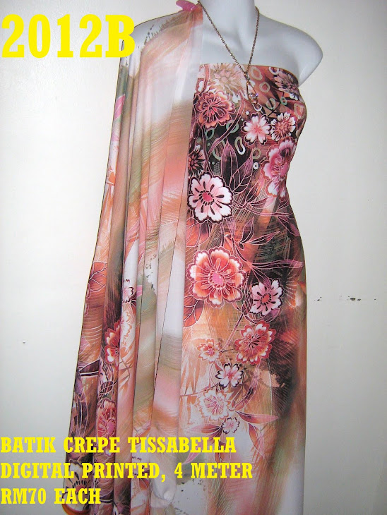 CTD 2012B: BATIK CREPE TISSABELLA DIGITAL PRINTED, EXCLUSIVE DESIGN, 4 METER