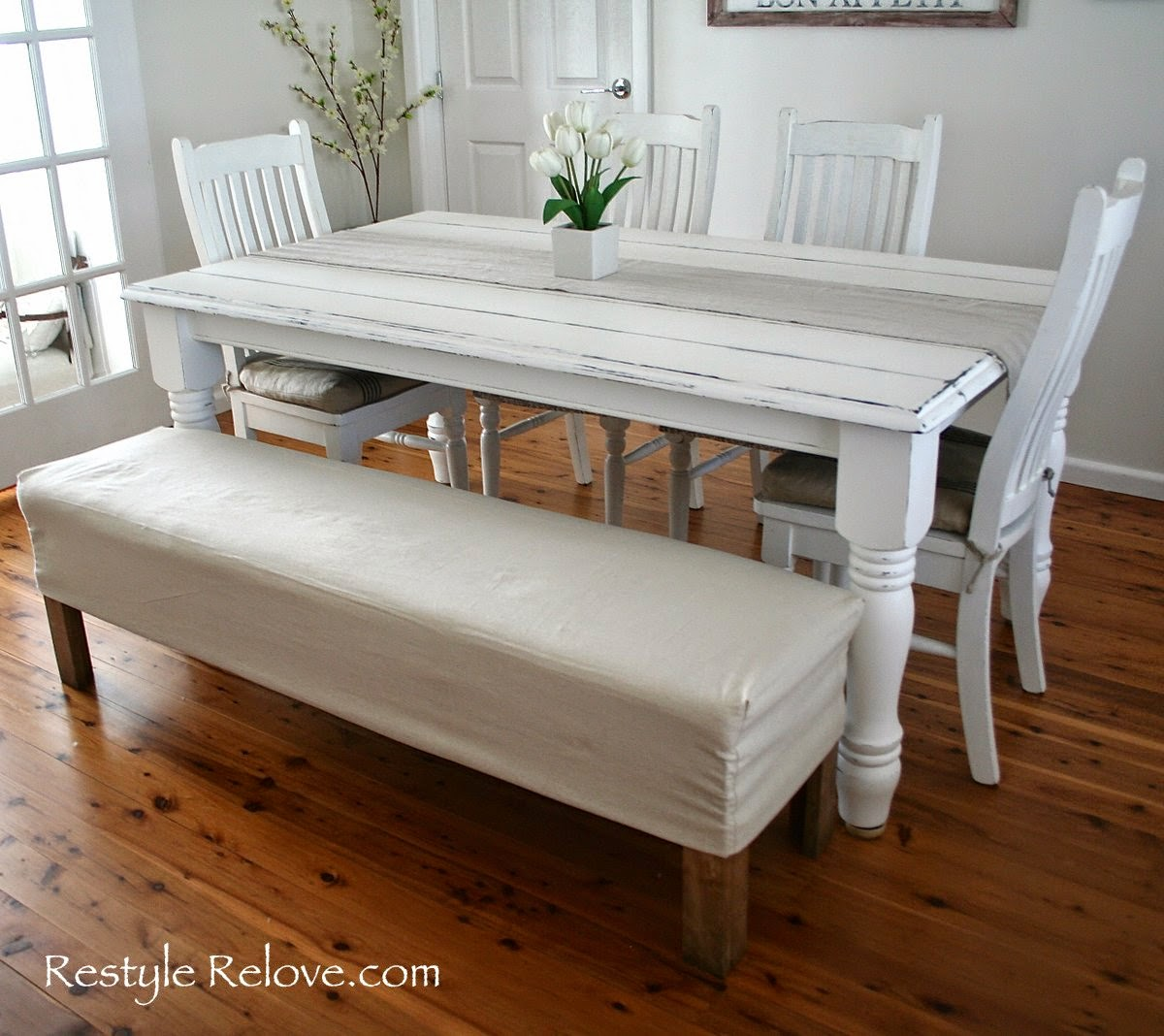 Superb img of Restyle Relove: Padded Dining Room Bench Seat with Removable Washable  with #3E1E0B color and 1200x1068 pixels