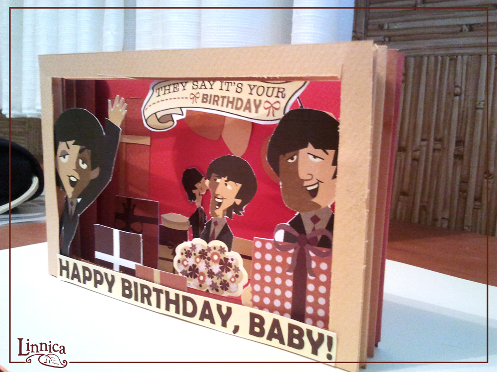 Linnica a 3d beatles birthday card green box shows exactly how i started putting in the beatles cut outs and the rest of the birthday decorative pieces this is how it finally came out bookmarktalkfo Choice Image