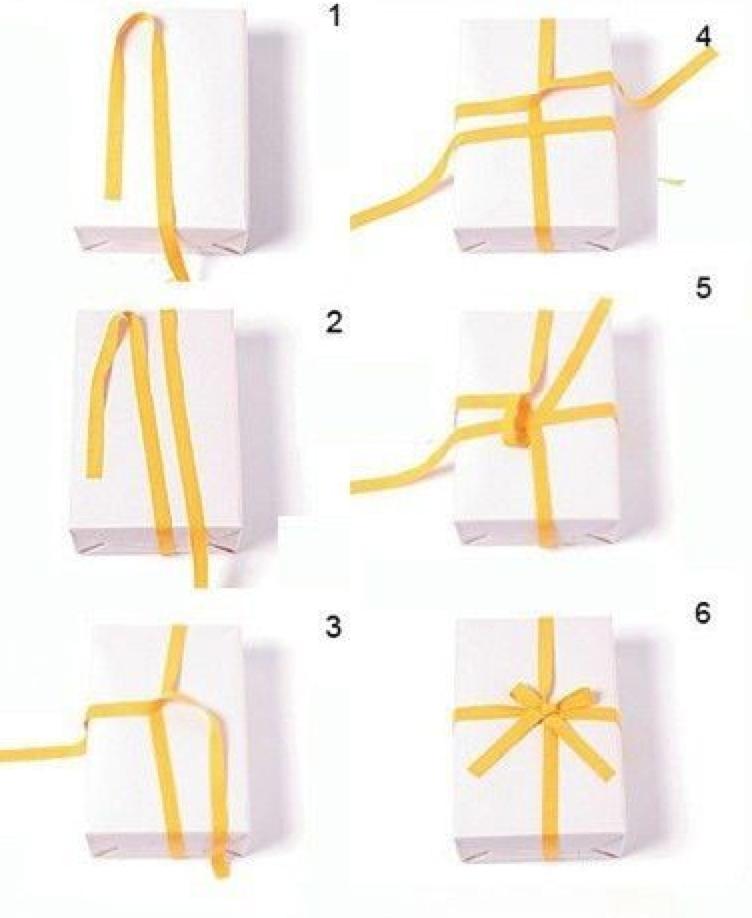 Как красиво завязать подарок из ленточки