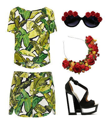 beach summer uk look, fashion styling, uk fashion. pattern two piece, tropical top with matching short from topshop, styled with cut out platform shoes, floral embellished circle sunglasses with red roses and roses and clementines red rose headband with yellow flowers and red berries, perfect summer crown
