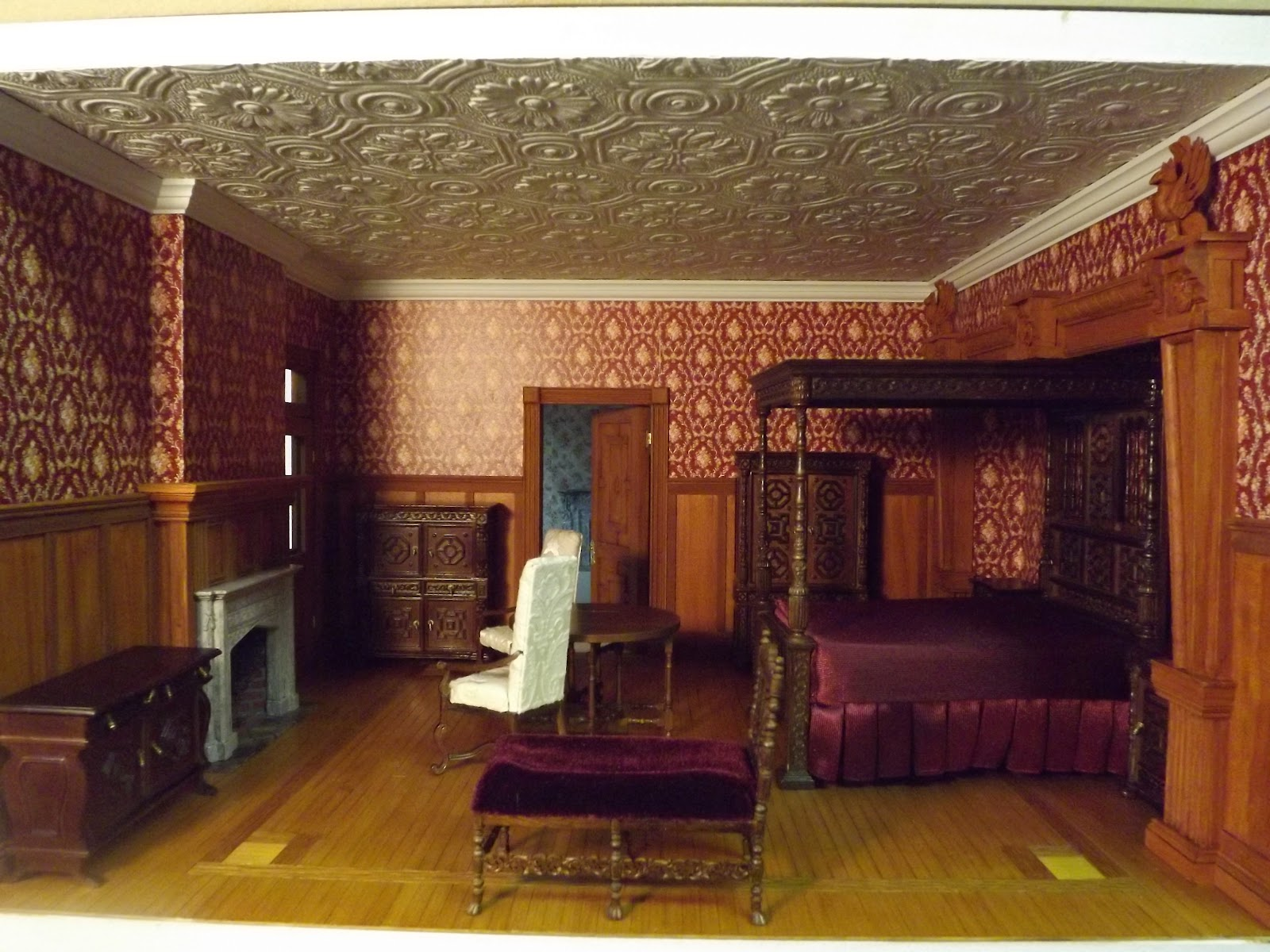 Late victorian english manor dollhouse 1 12 miniature Victorian bedrooms
