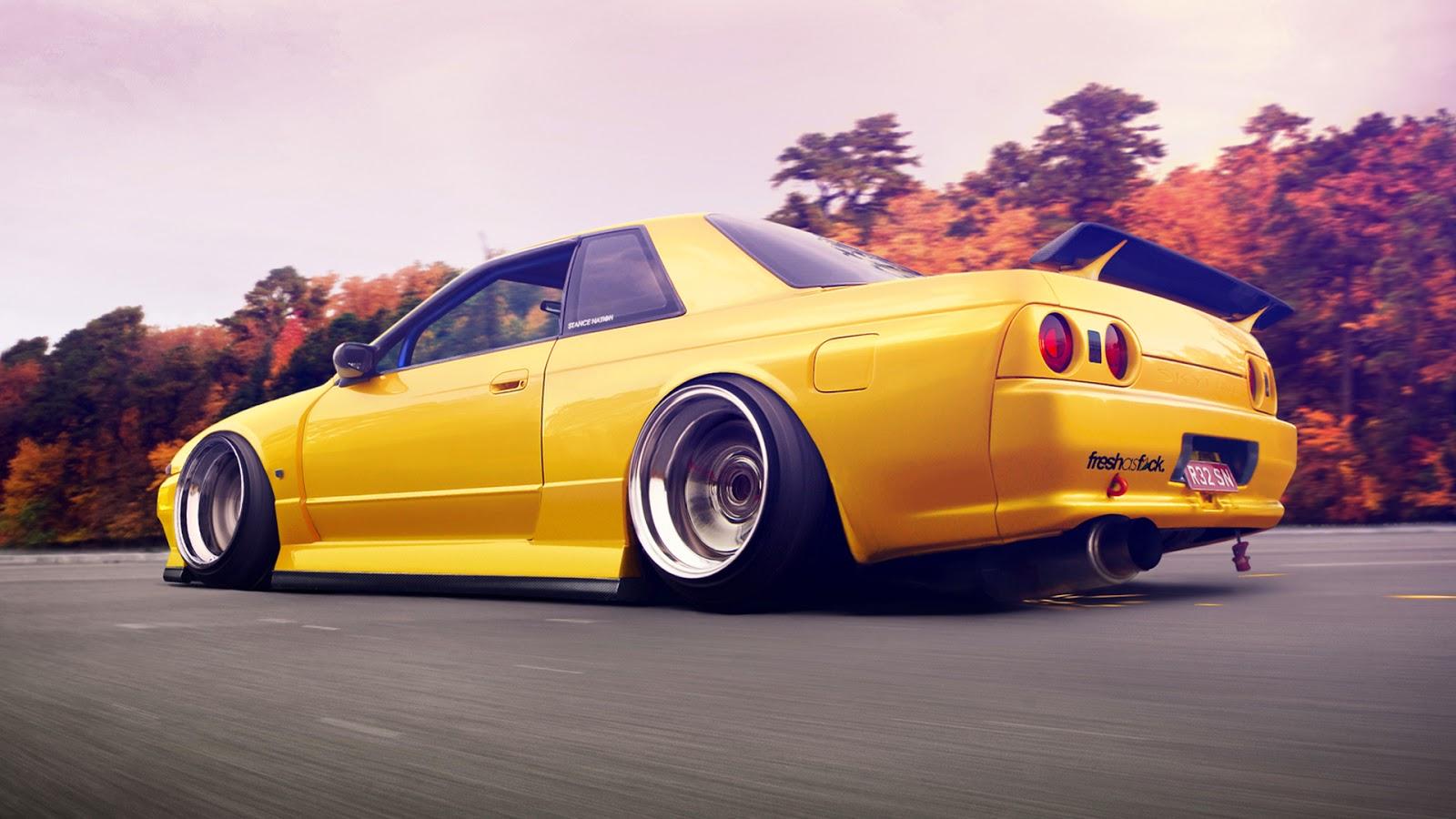 Wallpaper met gele sportwagen