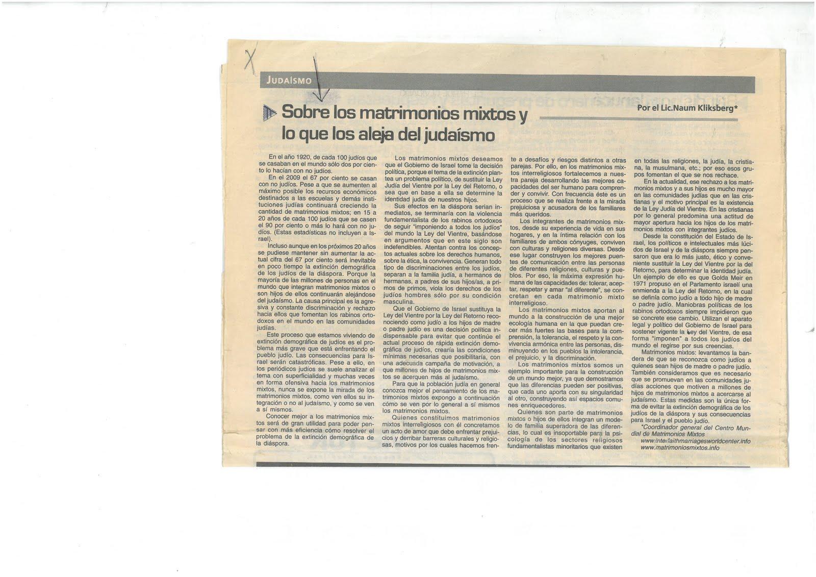 54 - Periódico Mundo Israelita. Argentina.08/01/2010. Artículo de Naum Kliksberg.