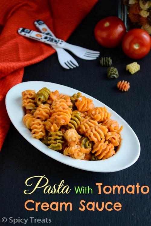 pasta with tomato cream sauce / tri colour pasta with tomato cream sauce