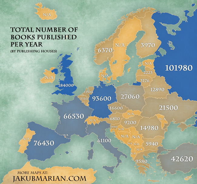 Total number of books published per year