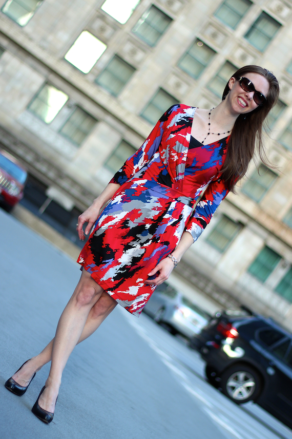 Red Splash Printed Faux Wrap Dress | StyleSidebar