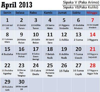 Kalender Karo: Bulan April 2013 (Sipaka V = Paka Arimo / Sipaka VI = Paka Kuliki)