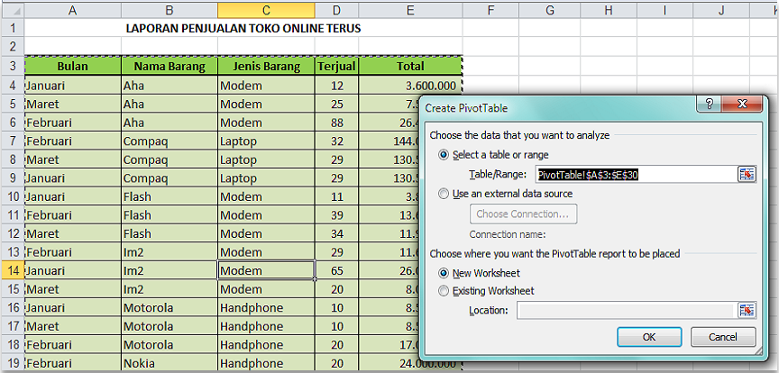 Tkj2 Nofia Lindawati Membuat Pivot Table Di Ms Excel 2010
