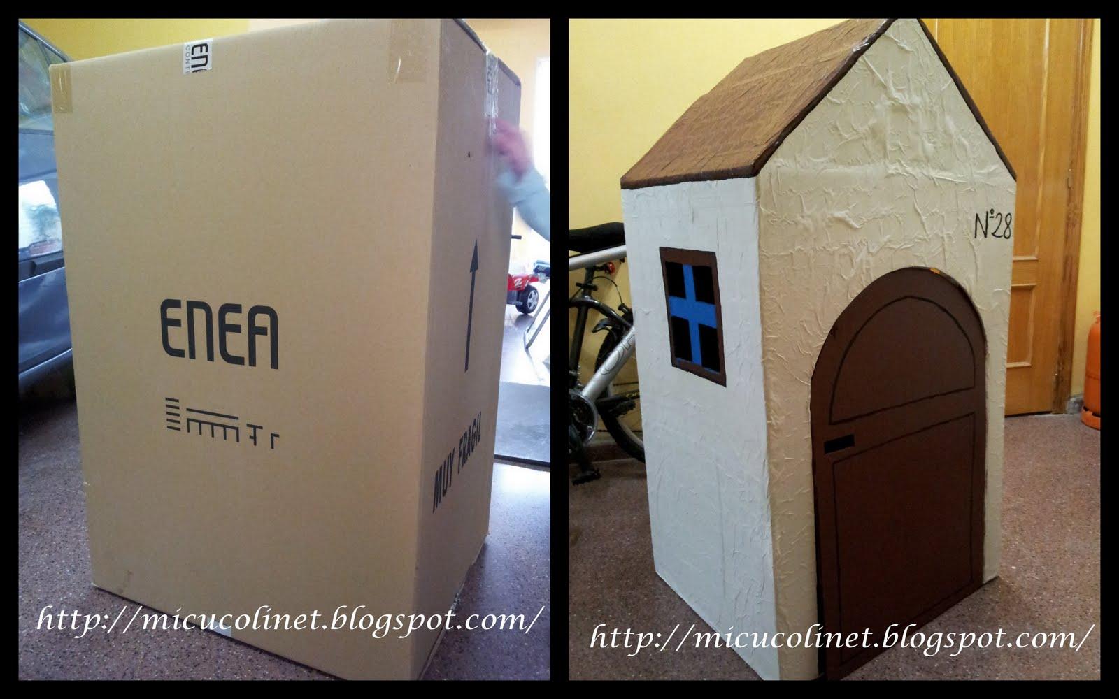 Mi cucolinet casa de juegos de una caja de cart n - Como hacer una caja con carton ...