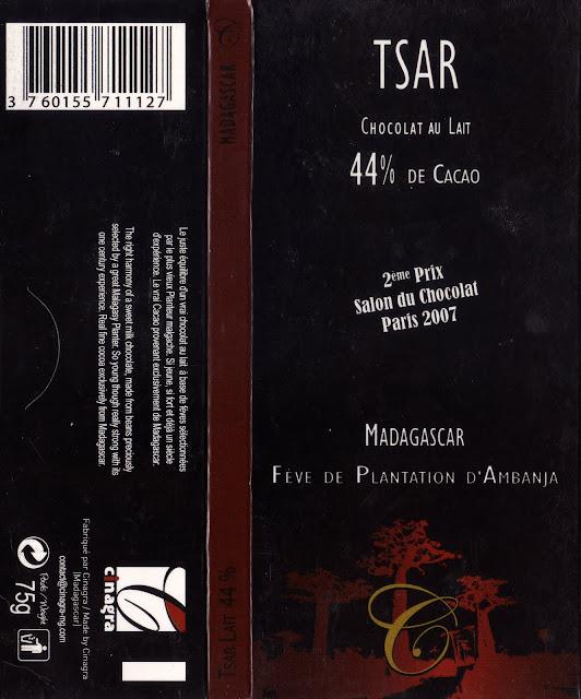 tablette de chocolat lait dégustation tsar chocolat au lait madagascar 44