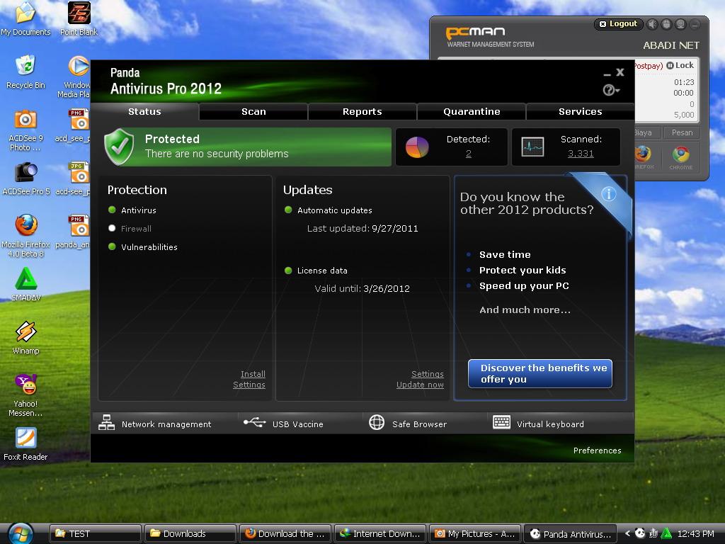 Tampilan Panda Antivirus Pro 2012 v11.00.00 Full dengan lisensi sampai 28 M