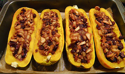 Baking Pan with 4 Stuffed Squash Hot from Oven