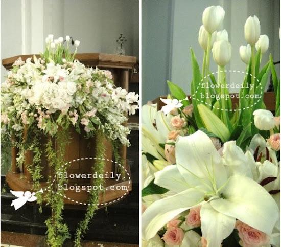 Decoración floral con paniculata, verde, margaritas y algo de rosa (lilium) 13