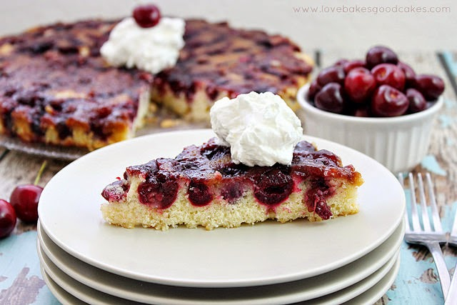 Cherry Upside Down Cake with Almond Whipped Cream