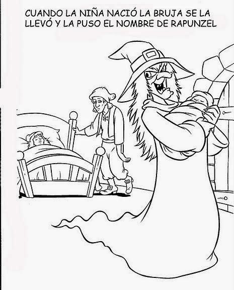 Cuentos infantiles: Rapunzel. Cuento en imágenes para colorear.