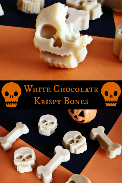 Halloween snack white chocolate krispy bones