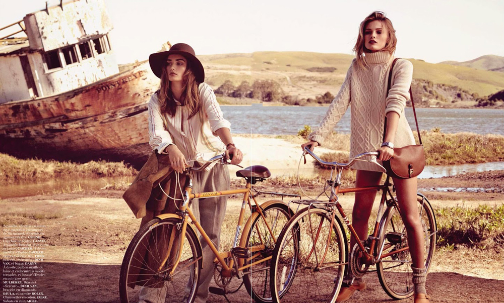 Andreea Deaconu & Edita Vilkeviciute photographed by Mikael Jansson for Vogue Paris May 2014 / bicycles in Vogue, Harper's Bazaar, Marie Claire, Elle fashion editorials and campaigns / via fashioned by love british fashion blog