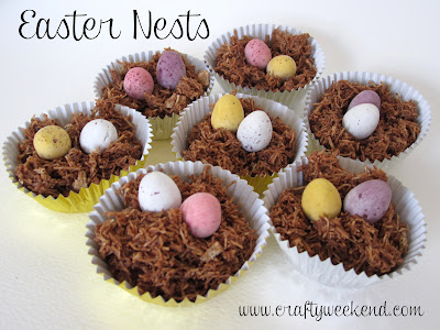 easter nest recipe, shredded wheat recipe, chocolate nest, mini egg cupcakes