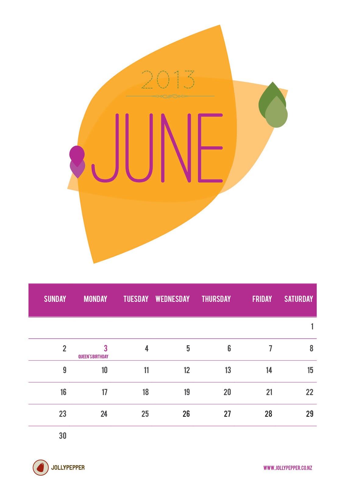 June print resolution Calendar of the month