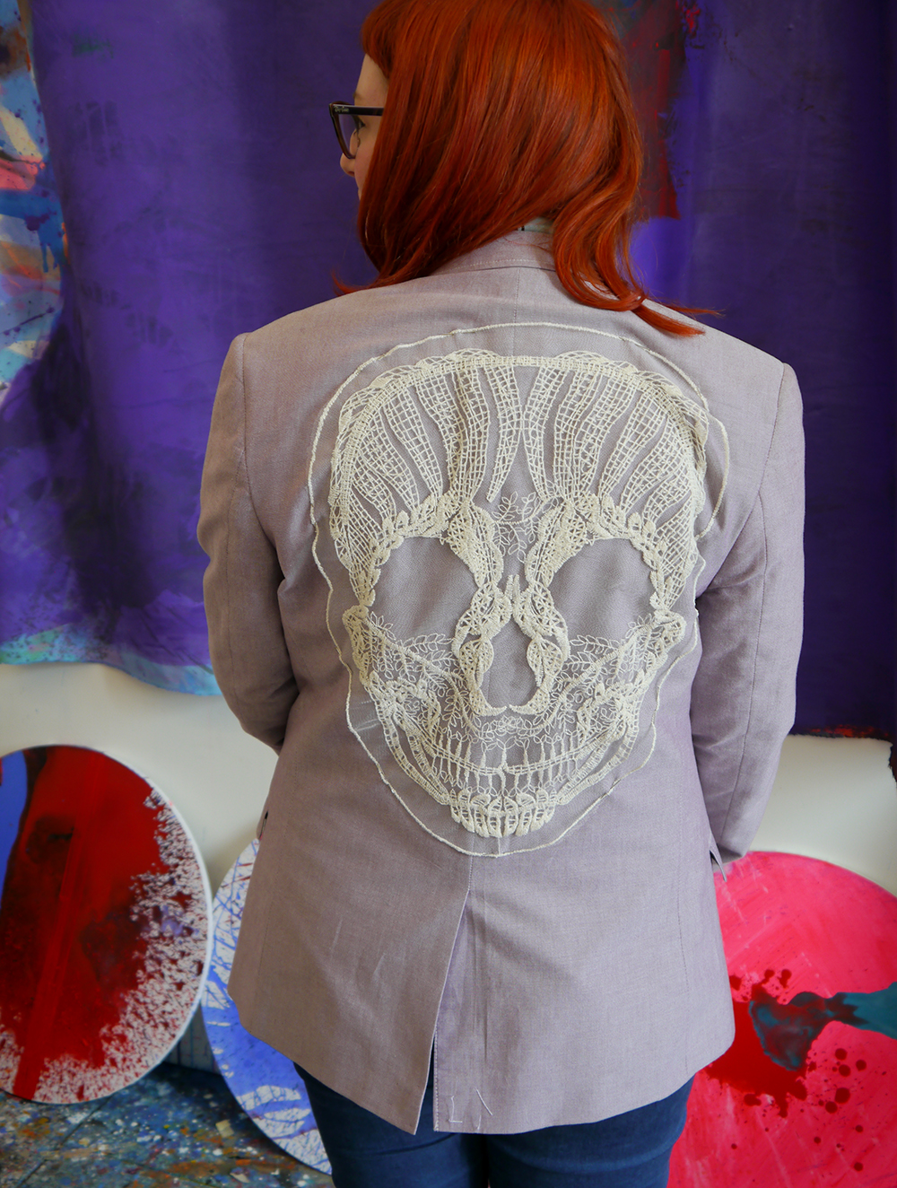 Dundee, Wasps Studios, Meadow Mill, artist studio, studio visit, Jack(et), Jill Skulina, blogging duo, Scottish Bloggers, Dundee Bloggers, jackets, embroidery, customisation, custom orders, wearable art, Louise Ritchie, skull jacket, skull embroidery