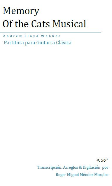romanza para guitarra cl 225 sica memory of the cats musical
