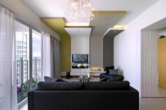 Mảng tường ti vi là điểm nhấn cho toàn bộ phòng khách