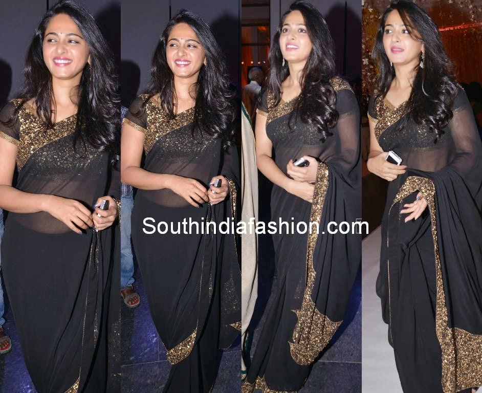 anushka in black saree