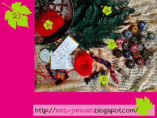 Hiasan Bunga Batik, Daun Daunan, Benang Wol Merah dan Kartu Nama