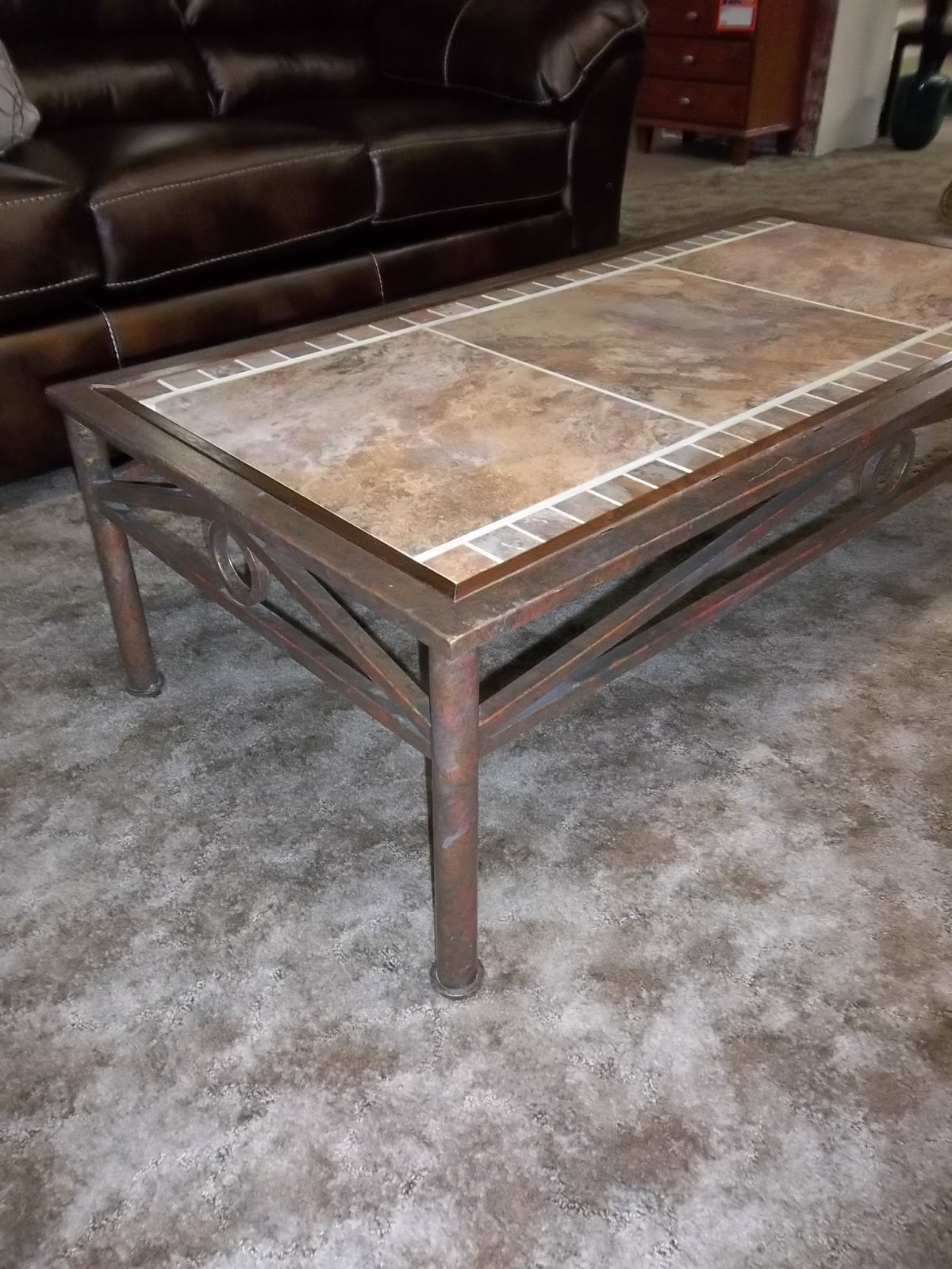 i am saved metal stone tile and walnut trimmed coffee table. Black Bedroom Furniture Sets. Home Design Ideas