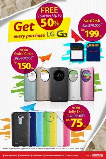 Beli LG G3 Dapat Voucher Disc Hingga 50% Untuk Pembelian Aksesoris