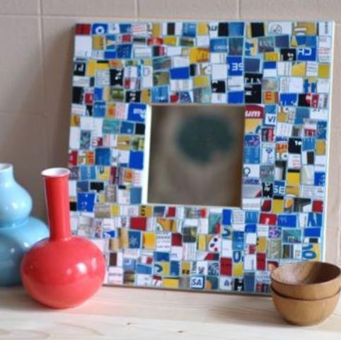 Falsas venecitas, mosaicos o gresite con tarjetas plasticas